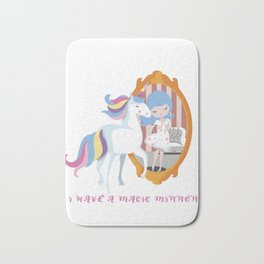 Unicorn and Girl, Mirror Beauty Transformation T shirt Bath Mat