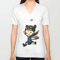 happiness V-neck T-shirts featuring Happiness by Freeminds