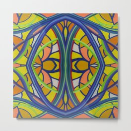 Stained Glass Blue Lines and Yellow Orange Shaped Background by annmariescreations Metal Print