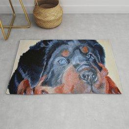 Rottweiler Puppy Portrait Rug
