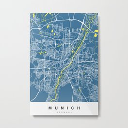 Munich, Germany Map | Blue & Yellow | More Colors, Review My Collections Metal Print