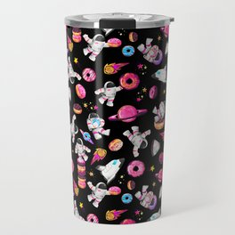 Planet Donuts Watercolor Astronaut Pattern Pink Black Travel Mug