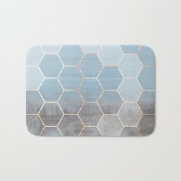 honeycomb winter forest // copper & blue Bath Mat