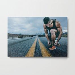 Runner on the Road Metal Print