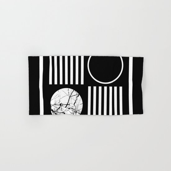 Retro Marble 2 - Abstract, geometric, black and white, bold, modern design Hand & Bath Towel