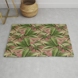 Cordyline Princess Margaret Watercolor Rose Pattern Rug