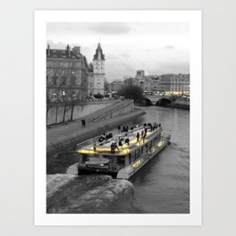 Paris black and white with color GOLD Art Print