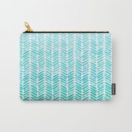 Handpainted Chevron pattern - small - light green and aqua teal Carry-All Pouch