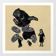 Bear and girl Art Print