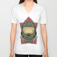 halo V-neck T-shirts featuring Halo UNSC by Daniel Mackey