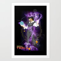 dbz Art Prints featuring DBZ Tesla by Hushy