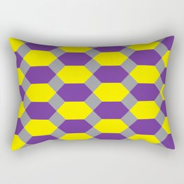 Purple and Yellow Hexagons on Dark Gray, Rectangular Pillow