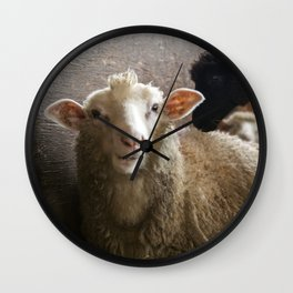 Cute Smiling Sheep Photo Wall Clock