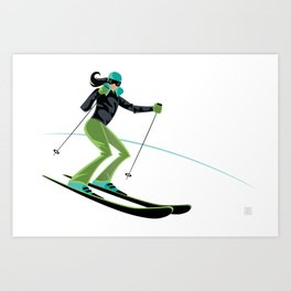 Ski Girl Turns Art Print