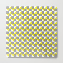 Grey Yellow and White Geometric Pattern Metal Print
