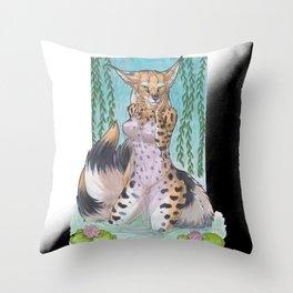 Serval Kitsune - SFW Throw Pillow