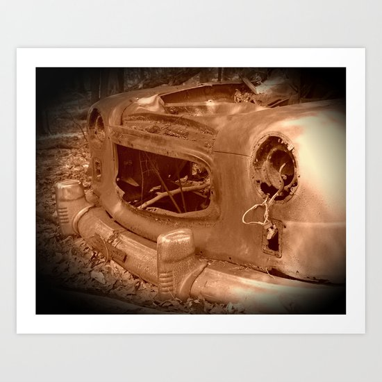 The Old Car In The Woods Art Print