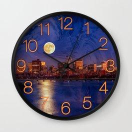 Moon light night, Boston MA Wall Clock