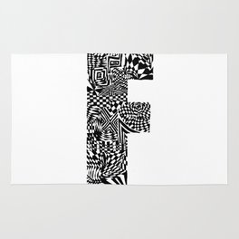 Alphabet Letter F Impact Bold Abstract Pattern (ink drawing) Rug