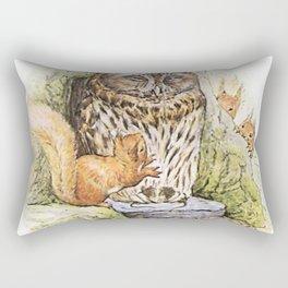 Squirrels tease a sleeping Owl Rectangular Pillow