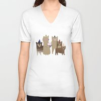 bears V-neck T-shirts featuring BEARS by Lydia Coventry