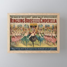 1896 Ringling Brothers Big Top Circus 'Dance of the Fairies' Vintage Poster Framed Mini Art Print