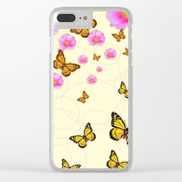 YELLOW-ORANGE MONARCH BUTTERFLIES PINK ROSES  MONTAGE Clear iPhone Case