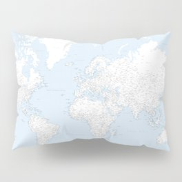 World map, highly detailed in light blue and white, square Pillow Sham