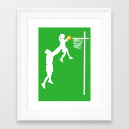 Father and daughter playing basketball Framed Art Print