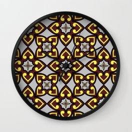 The Queen of Hearts Abstract Seamless Pattern Wall Clock