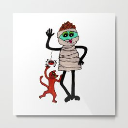 Mummy with Cat Metal Print
