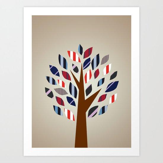 Striped Tree - Digital Work Art Print