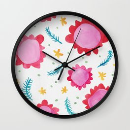 Painted Flowers red Wall Clock