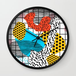 Wig Out - memphis style shapes retro pop art pattern dots stripes squiggles 1980's 80s 80 1980 retro Wall Clock