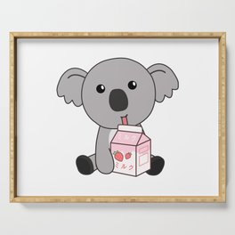 Kawaii Koala Retro Japanese Strawberry Milkshake Serving Tray