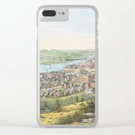 Vintage Pictorial Map of Wheeling WV (1854) Clear iPhone Case