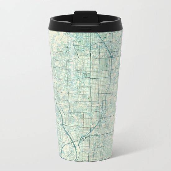 Kyoto Map Blue Vintage Metal Travel Mug