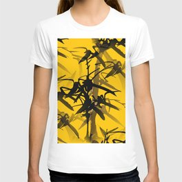 Bamboo Branches On A Yellow Background #decor #society6 #buyart #pivivikstrm T-shirt