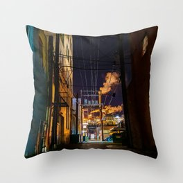 Trail BC Back Alley at Night Throw Pillow