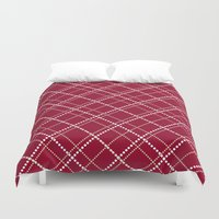 burgundy Duvet Covers featuring Burgundy Pattern by Christina Rollo