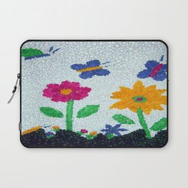 Butterflies and spring flowers bubble art Laptop Sleeve