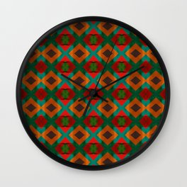 Ethnic Tribal Rust & Green Diamonds Wall Clock