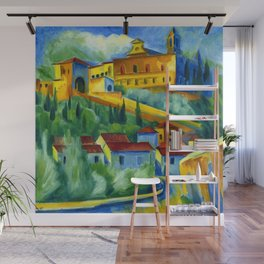 Charterhouse of Florence & Italian Village landscape painting by Hermann Max Pechstein Wall Mural