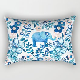 Blush Pink, White and Blue Elephant and Floral Watercolor Pattern Rectangular Pillow