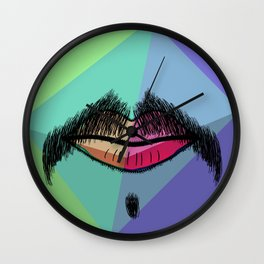 Colorful Mustache Wall Clock