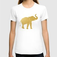 gold foil T-shirts featuring Gold Foil Elephant by Mod Pop Deco