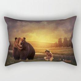 Native american boy and the bear Rectangular Pillow