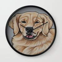 golden retriever Wall Clocks featuring Golden Retriever  by Cheney Beshara