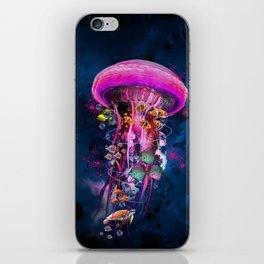 Pink Electric Jellyfish iPhone Skin