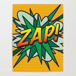 ZAP Comic Book Flash Cool Fun Modern Pop Art  Poster